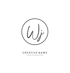 Wj initial letter handwriting and signature logo vector