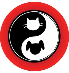 Yin yang cat dog vector