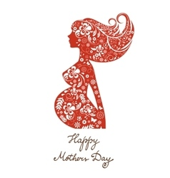 Beautiful mom to be floral silhouette vector image