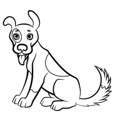 funny dog contour vector image vector image