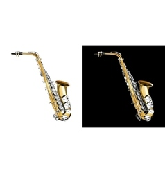 gold saxophone with silver keys vector image
