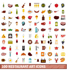 100 restaurant art icons set flat style vector image vector image