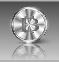 bitcoin logo on shiny metal circle vector image