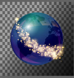 blue globe earth with stars vector image vector image