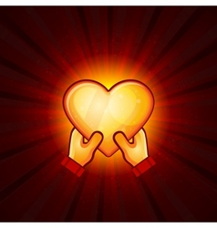 Gold Heart And Hands On Red Background vector image