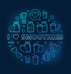 I love smoothies blue thin line vector