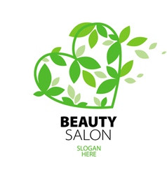 logo heart of green leaves to the beauty salon vector image