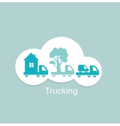 trucking houses cars trees icon vector image