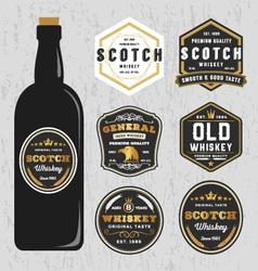 Vintage premium whiskey brands label vector