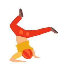 boy doing headstand dancing breakdance performing vector image vector image