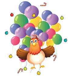 Chicken and colorful balloons vector