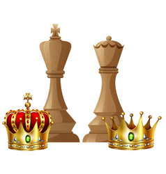 King and queen pieces of chess game vector