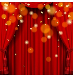 Red curtain vector image vector image
