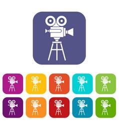 Retro film projector icons set vector