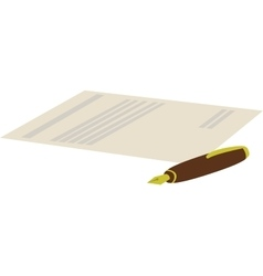cartoon of pen with contract vector image vector image