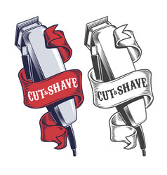 electric hair clippers engraved style vector image
