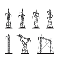 Electrical transmission tower types in perspective vector image vector image