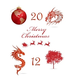 merry christmas symbols set red color vector image vector image