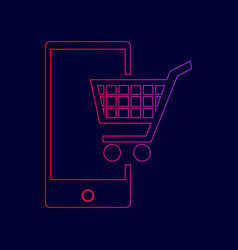 shopping on smart phone sign line icon vector image