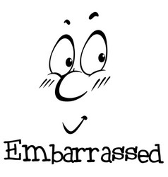 Wordcard for ecpression embarrassed vector