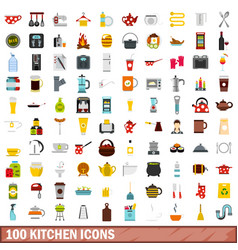 100 kitchen icons set flat style vector image
