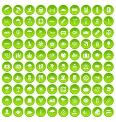 100 tv icons set green circle vector