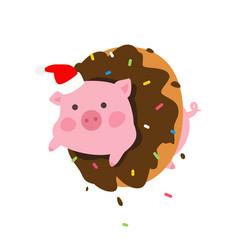 a cartoon pig in a donut pork in santa claus cap vector image