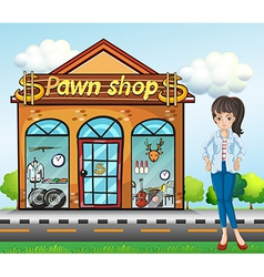 A lady standing beside the pawnshop vector