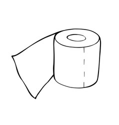 a roll toilet paper in doodle style vector image
