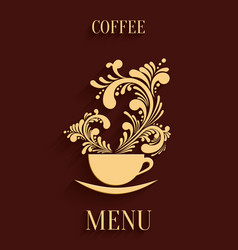 Abstract 3d cup coffee with floral aroma design vector