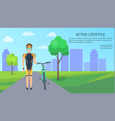 active lifestyle bicyclist web vector image