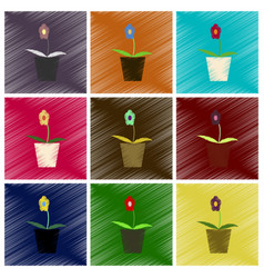 assembly flat shading style icons flower in a pot vector image
