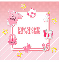 baby shower set invitation template with place fo vector image