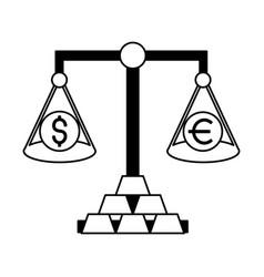 balance gold bars exchange stock market vector image