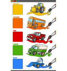 basic colors set with cartoon vehicle characters vector image