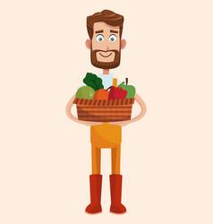 bearded farmer with vegetable basket vector image