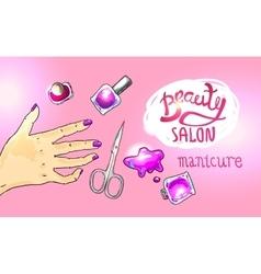 Beauty salon manicure vector