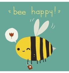 Bee happy postcard icon vector