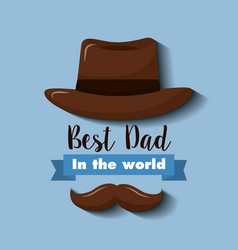 Best dad in the world invitation card hat and vector