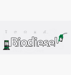 biodiesel typographic pump nozzle creative design vector image