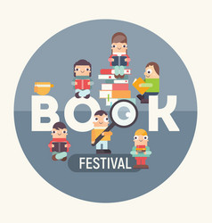 Book festival fair vector