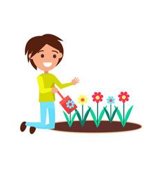 Boy digging with little shovel flower bed vector
