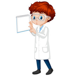 Boy in science gown with notebook on white vector