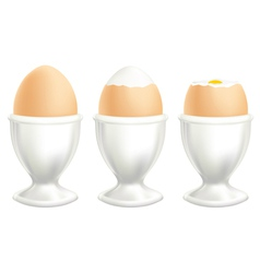 brown soft boiled egg in a dish on white backgroun vector image vector image