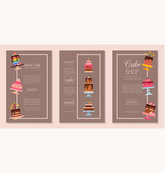cake set of cards chocolate vector image