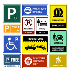 Car park parking signs signboards a set of vector