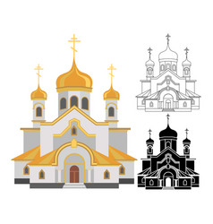 Cartoon image of christian church with gold design vector