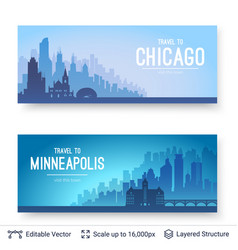 Chicago and minneapolis famous city scapes vector