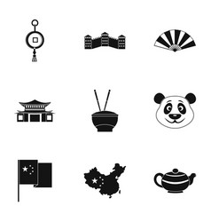 China travel icon set simple style vector