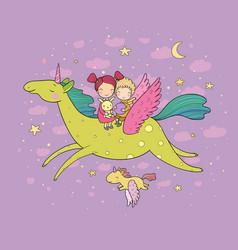 cute cartoon boy and girl and unicorn kids fly on vector image